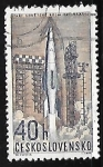 Sellos de Europa - Checoslovaquia -  Launching of Soviet space rocket