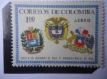 Sellos de America - Colombia -  Visita de los Presidentes Eduardo Frei (Chile) y Raúl Leoni (V/zuela) Agosto de 1966- Escudos de Arm