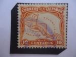 Sellos de America - El Salvador -  Mapa de Centro América - Serie: Símbolos del País.