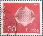 Sellos de Europa - Alemania -  Scott#1019 , intercambio 0,20 usd. , 30 cents. , 1970