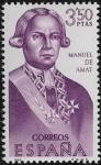 Sellos del Mundo : Europa : España : Forjadores de América - Manuel de Amat i Junyent  1966 3,50 pts