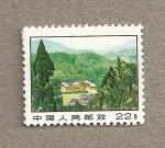 Sellos de Asia - China -  Casa rodeada de árboles
