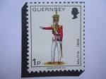 Sellos de Europa - Reino Unido -  Guernsey - Oficial, 2° Oficial de la Policía de North Regt. 1825 - Serie: Milicia de Guernsey.