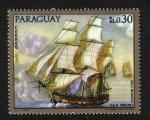 Sellos del Mundo : America : Paraguay : Pinturas de viejos buques de guerra, USS Mount Vernon 1798