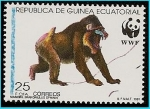 Sellos del Mundo : Africa : Guinea_Ecuatorial : Mandril - en peligro de extinción - WWF protección de la Naturaleza