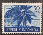 Sellos del Mundo : Asia : Indonesia : Kelapa, coconut palms, 50 sen, 1960