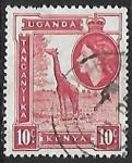 Sellos de Africa - Uganda -  Jirafa y reina
