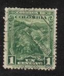 Sellos del Mundo : America : Colombia : minería y agricultura, Mina de Esmeraldas