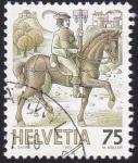 Sellos de Europa - Suiza -  caballero postal