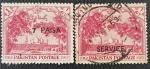 Sellos del Mundo : Asia : Pakistán : 2 x Badshahi Mosque, Overprint 7 Paisa Service, 1 anna, 1954