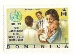 Sellos del Mundo : America : Dominica : Organizacion Mundial de la Salud. Maternidad, cuidados infantiles.