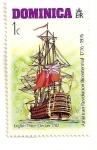 Sellos del Mundo : America : Dominica :  Bicentenario de los EEUU. 1776-1976. (barco ingles)