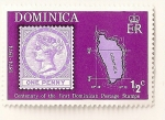 Sellos del Mundo : America : Dominica : Cent. del sello postal dominicano. Nº 1 de Dominica y mapa de la isla.