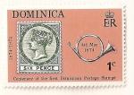 Sellos del Mundo : America : Dominica : Cent. del sello postal dominicano. Nº 8 de Dominica y trompa postal.