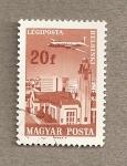 Sellos de Europa - Hungría -  Avión sobre Helsinki