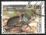 Sellos de Asia - Camboya -  Insectos - Oryctes nasicornis