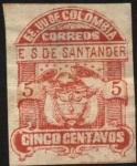 Sellos del Mundo : America : Colombia : Estado Soberano de Santander y escudo. Anterior 1886.