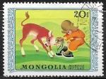 Sellos de Asia - Mongolia -  Dibujos animados - niño con vaca