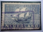 Sellos de Europa - Holanda -  Paises Bajos -Nederland Curacao-1634-1934 - Gobierno de los Paises Bajos-Barco de la Colonización.