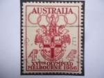 Sellos de Oceania - Australia -  XVI Olimpiada-Melbourne 1956 - Juegos Olímpicos de Verano - Aros Olímpicos-Escudo de Armas