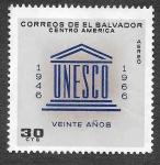 Sellos de America - El Salvador -  C233 - XX Aniversario de la UNESCO