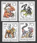 Sellos de Europa - Alemania -  2542-2545 - 125º Aniversario del Zoo de Dresden (DDR)