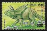 Sellos del Mundo : Asia : Tayikistán : Animales prehistóricos - Triceratops