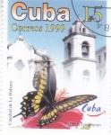 Sellos del Mundo : America : Cuba : Mariposa y catedral de La Habana
