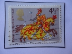 Sellos de Europa - Reino Unido -  Robert The Bruce (1274-1329) - Guerreros Medievales - Sello de 4,1/2p-Penique Británico, año 1974