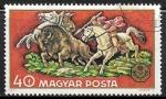 Sellos del Mundo : Europa : Hungría : European Bison cazando