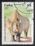 Sellos del Mundo : America : Cuba :  Animales de zoologico - Rinoceronte