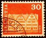 Sellos de Europa - Suiza -  Edificios. Village Square Houses, Gais