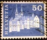 Sellos del Mundo : Europa : Suiza : Edificios. Castle and Collegiate Abbey Church, Neuchatel