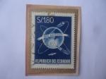 de America - Ecuador -  Año Geofisico-GloboTerráqueo con Orbitas del Satélite Ruso Sputnik (Año 1957)-Sello de 1,80 Sucre Ec