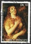 Sellos de Africa - Santo Tomé y Principe -  Pintores 1990, María Magdalena - Tizian