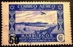 Sellos de Europa - España -  Marruecos español. Sello de 1938 con nuevo valor en habilitación