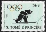 de Africa - Santo Tomé y Principe -  Juegos Olímpicos, Seúl, Barcelona y Albertville, Bear on skis