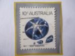 de Oceania - Australia -  Zafiro Estrella - Serie: Animales Marinos y Minerales- Sello de 10 Ctvs. Australianos, año 1974.