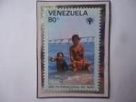 Sellos del Mundo : America : Venezuela : Año Internacional del Niño - Emblema - Puente sobre el Lago de Maracaibo.