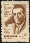 Sellos del Mundo : America : Brasil : Visita del Dr. ADOLFO LOPEZ MATEOS, presidente de los Estados Unidos Mexicanos.