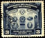 Sellos del Mundo : America : Paraguay : Paz del Chaco. Escudos de Países involucrados.