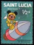 Sellos del Mundo : America : Santa_Lucía : 10 Aniversario paseo lunar Mickey Mouse