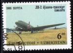 Sellos del Mundo : Asia : Uzbekistán : 1995 Transporte aereo : Lisunov LI-2, airliner