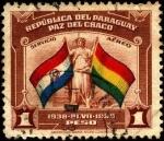 Sellos del Mundo : America : Paraguay : Paz del Chaco. Banderas de Paraguay y Bolivia. Aéreo.