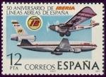 Sellos de Europa - España -  ESPAÑA 1977 2448 Sello Nuevo L Aniversario de la fundacion de Iberia Aviones Rohrbach Ro-VIII y DC-1