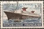 Sellos de Europa - Francia -  Primer viaje del parquebote France