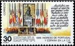 Sellos del Mundo : Europa : España :  ESPAÑA 1986 2827 Sello Nuevo Ingreso España en CEE Mesa del Salon de Columnas del Palacio Real Yvert