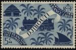 Sellos del Mundo : Africa : Somalia : Costa Francesa de Somalia. DJIBOUTI.  Choza, locomotora y barco a vela.