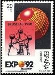 Sellos de Europa - España -  ESPAÑA 1989 2992 Sello Nuevo Exposición Universal de Sevilla. Expo de Bruselas 1958 Atomium Michel28