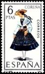 Sellos de Europa - España -  ESPAÑA 1968 1841 Sello ** Trajes Tipicos Españoles Coruña